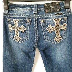 Miss Me Jeans 25 Straight Embellished Cross Pocket